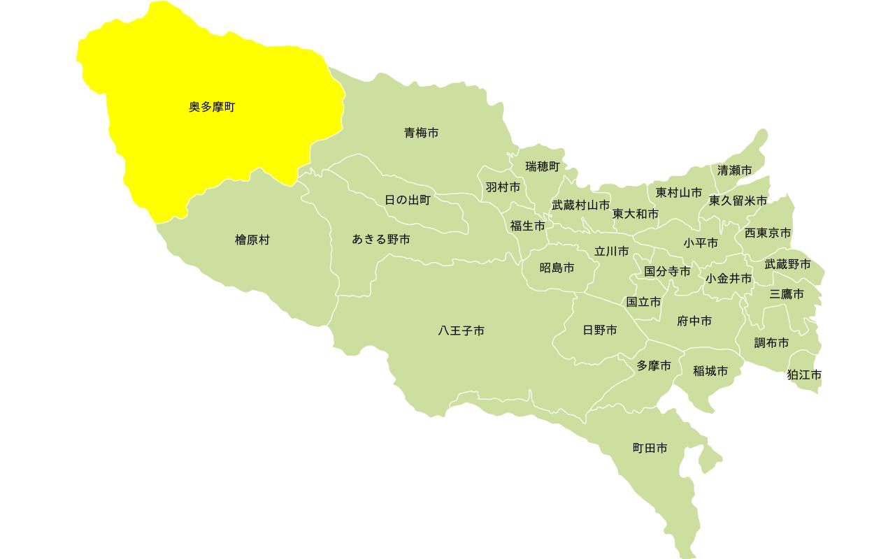 多摩エリアの地図。奥多摩町にフォーカス。