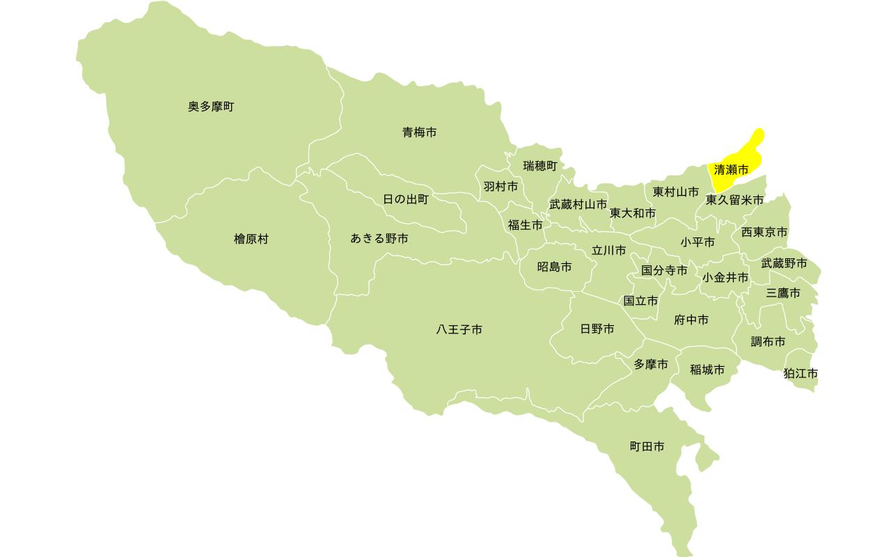 多摩エリアの地図。清瀬市にフォーカス。